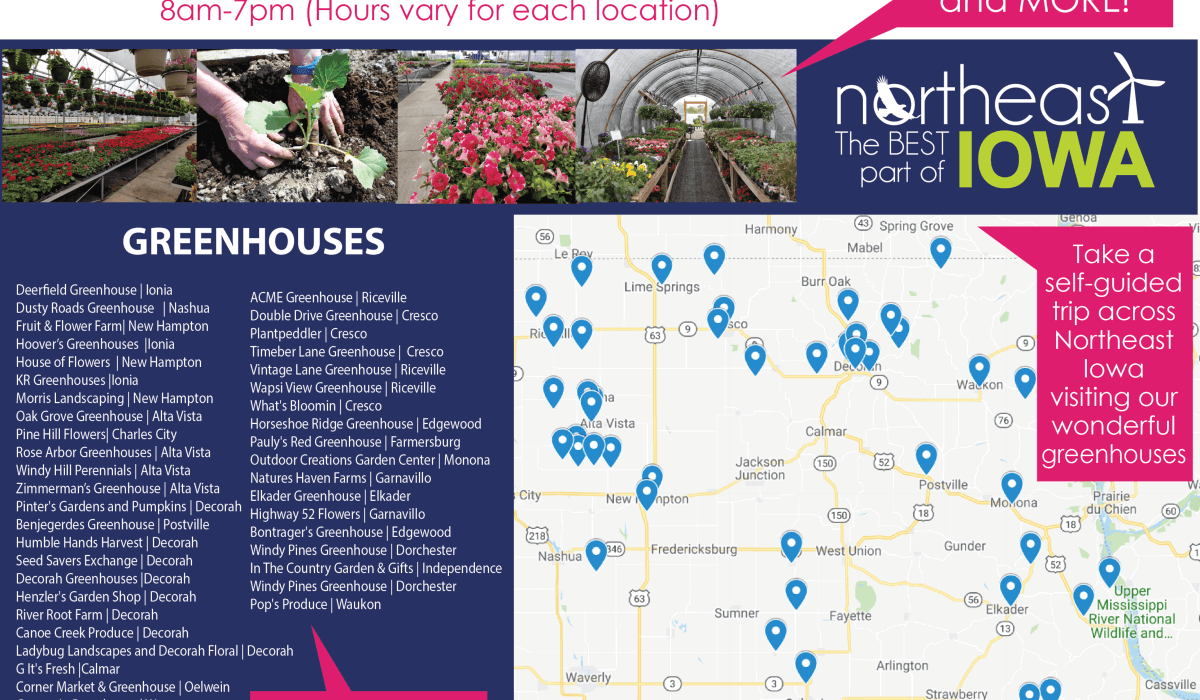 Post Photo for Northeast Iowa Greenhouse Tour for April 26-28th, 2019